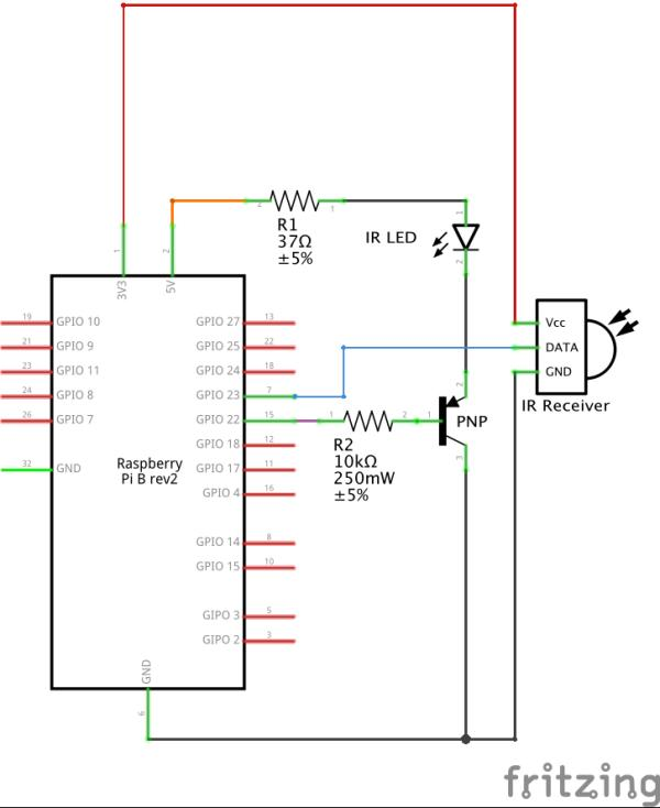 Controlling your TV or any infrared device with a Raspberry Pi schematic