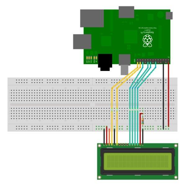 16×2 LCD Module Control Using Python board+schematic