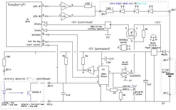 BirdBox2015 Picaxe controller details Schematic