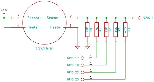 Connect a sensor to your Raspberry Pi to warn you when there are noxious gases about! Schematic