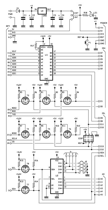 Expansion Shield for RaspberryPi compatible with Arduino Schematic