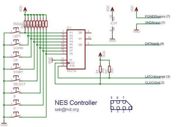 NES Controller on the Raspberry Pi Schematic