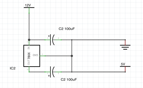 Powering a Raspberry Pi from 12 V DC Schematic