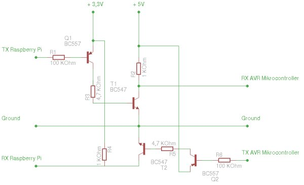 Raspberry Pi – homemade level converter for serial communication rs232 3.3 volts to 5 volts TTL for AVR microcontroller Schematic