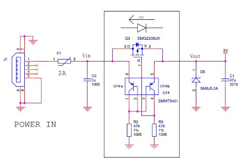 Raspberry Pi B+ Power Protection schematic