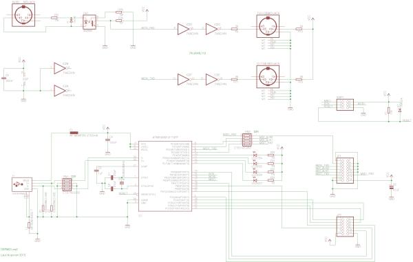USB MIDI interface Schematic