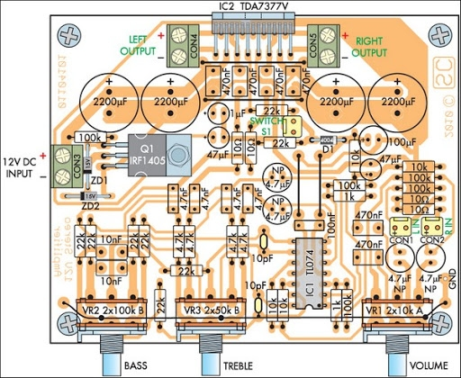 Compact High-Performance 12V 20W Stereo Amplifier Schematic