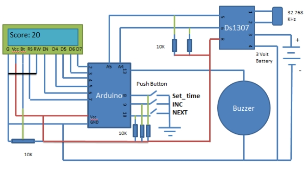 Medicine Reminder using Arduino Schematic
