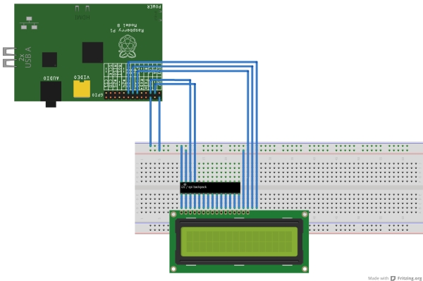 Using 20×4 RGB LCD over i2c with a Raspberry Pi Schematic