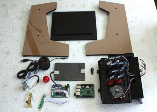 Bartop Mini Retro Arcade - Raspberry Pi and Customised Icade schematic