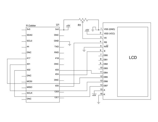 How to drive a Character LCD display using the Raspberry Pi schematic
