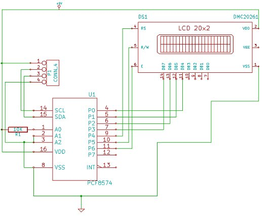 Interfacing a 16x2 LCD with Raspberry Pi schematic