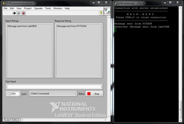 LabVIEW and Raspberry Pi TCP IP Communications