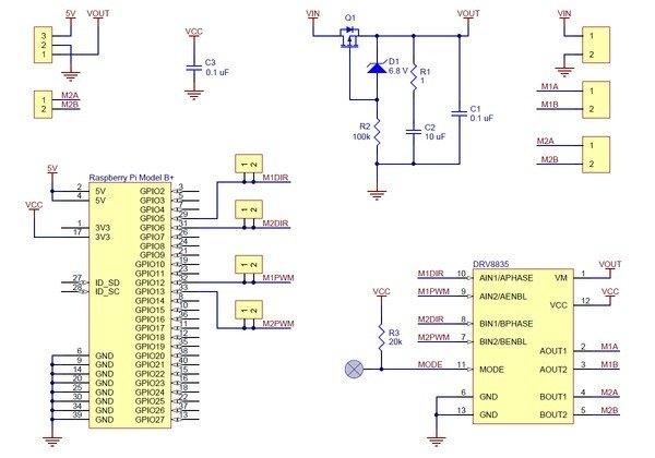 Motor Driver DRV8835 (for Raspberry Pi) schematic