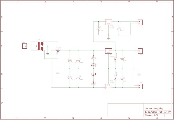Power supply for function generator schematic