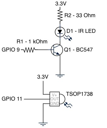 We controlled any AV technique with phone. An IR transceiver for Raspberry schematic