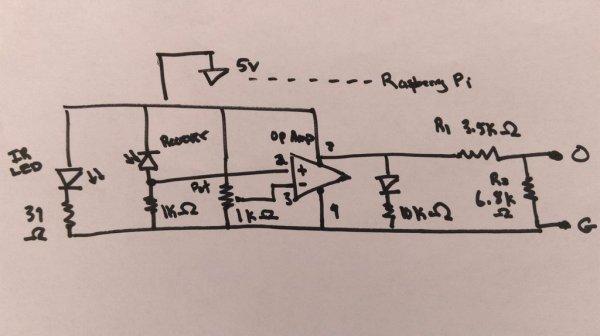DIY Infrared Motion Sensor System for Raspberry Pi schematic