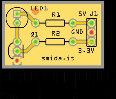 Debug GPIO with LED schematic