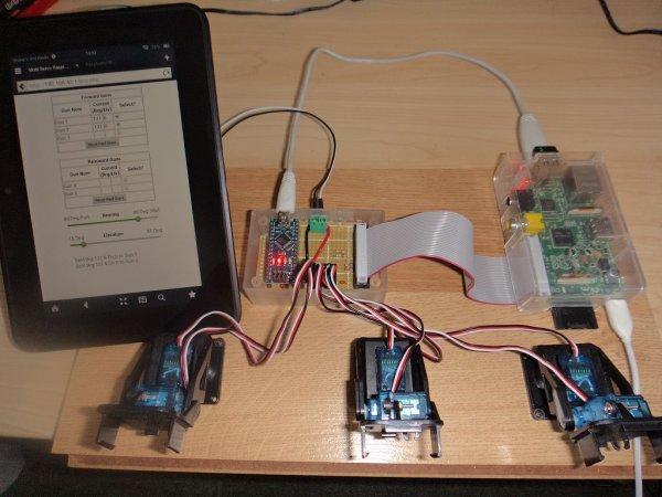Raspberry Web server sending GET data to Arduino Nano driving 6 servos