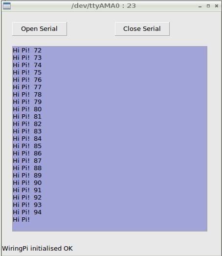 Raspberry Pi Serial Comms - Gambas plus wiringPi