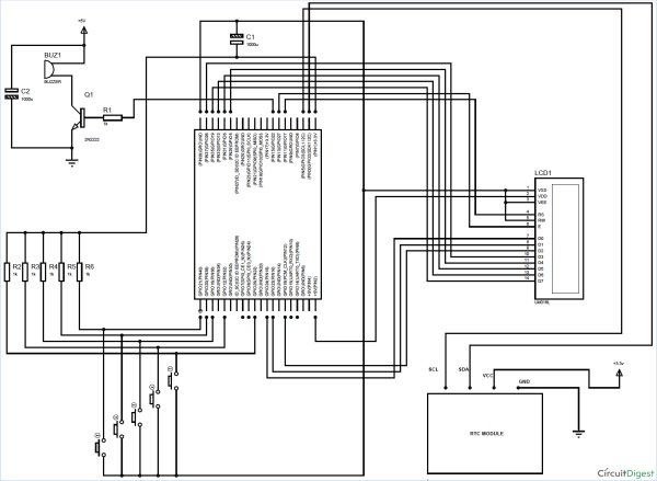 schematic enabling i2c for raspberry pi rtc alarm clock