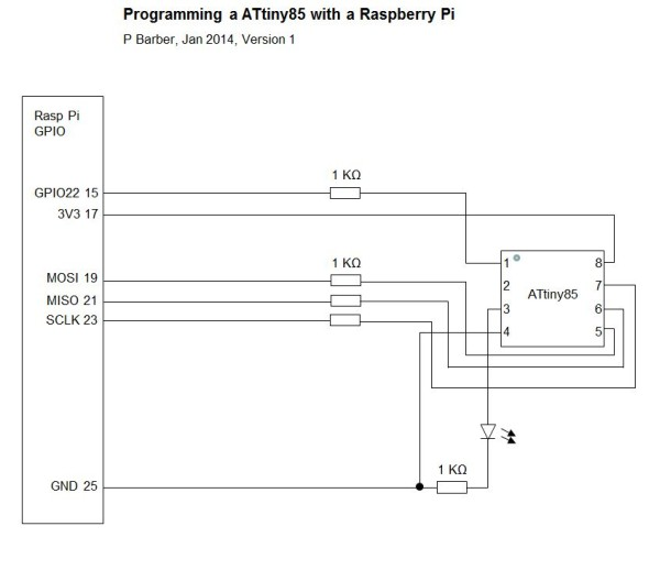 Programming the ATtiny85 from Raspberry Pi Schemetic