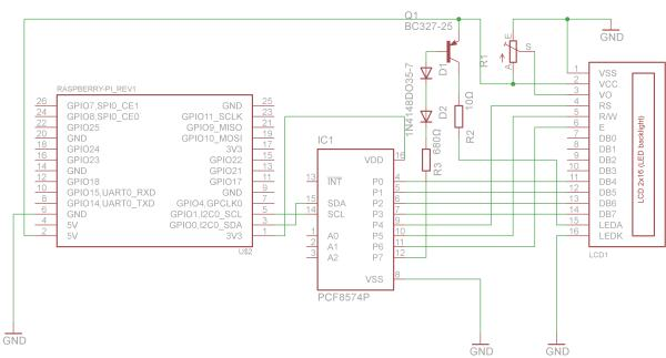 Raspberry PI Connecting a HD44780 Display over I2C Bus Schematic
