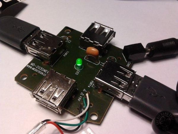 Adding an external power supply to a cheap USB hub board