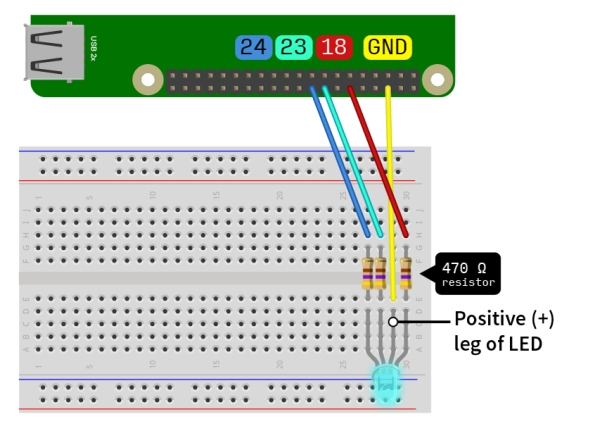 DNA flashing LED box with a Raspberry Pi Diagram