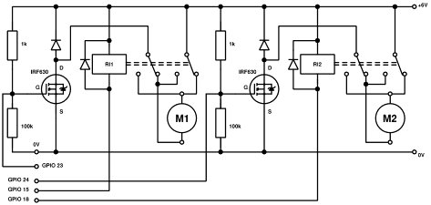 Dual DC motor control using pwm with the Raspberry Pi Schematic
