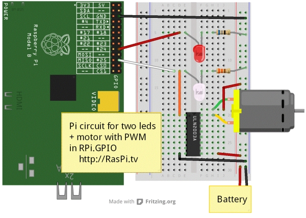 How to use soft PWM in RPi.GPIO 0.5.2a pt 2 – led dimming and motor speed control Diagram