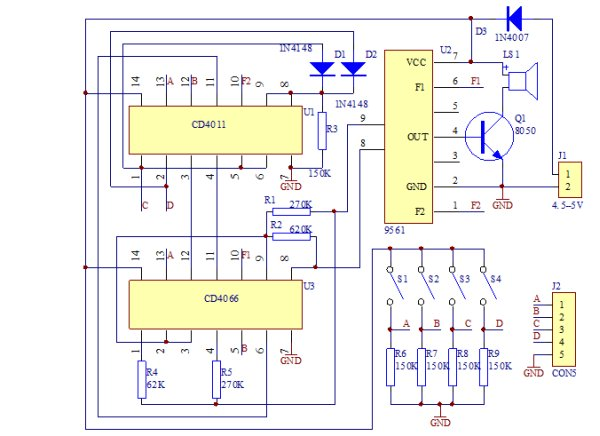ICStation 16 Music BOX DIY Kit Sound Module Schematic