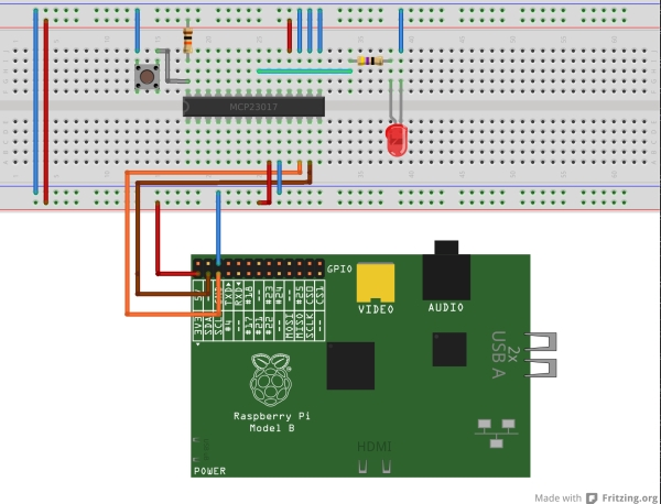 Interfacing an I2C GPIO expander (MCP23017) to the Raspberry Pi using C++ (i2cdev)