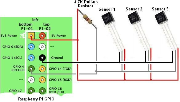 Measure temperatures with a 1-wire DS18B20 sensor and Raspberry Pi Schematic