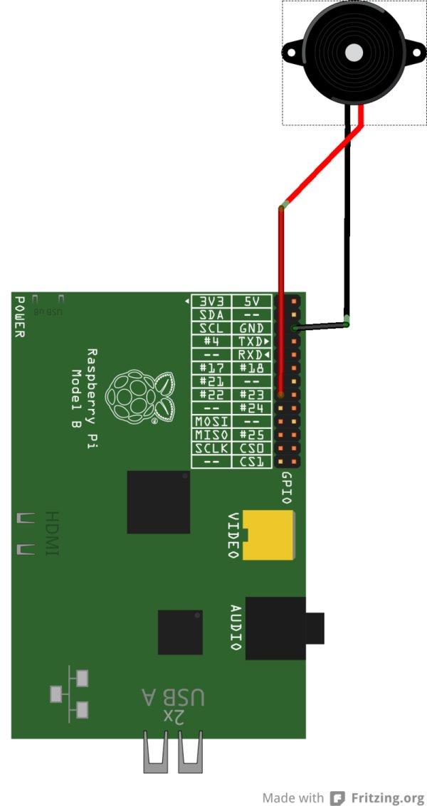 Piezo Ring Tones with Raspberry Pi schematic