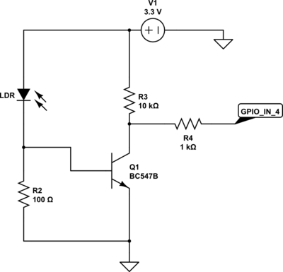 Raspberry Pi & Arduino a laser pointer communication and a LDR voltage sigmoid Schematic