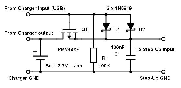 Single 3.7V Li-ion cell power back-up for Raspberry Pi schemetic