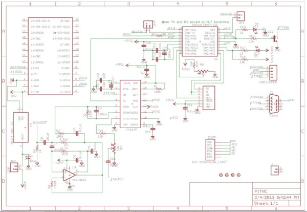 TNC-X for Raspberry Pi (Packet radio) AX25 Circuit Diagram