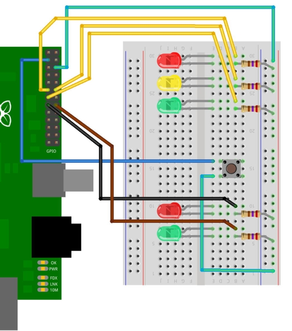 3 More LEDs and a Button Schematic