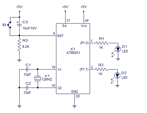 Blinking LED using 8051 Schematic