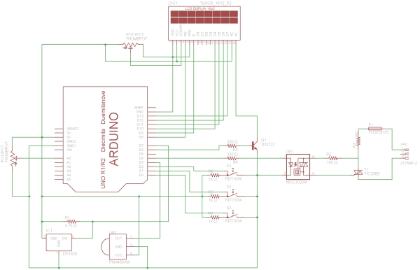DIY Temperature Monitoring and Regulation for HomeBrew Schematic