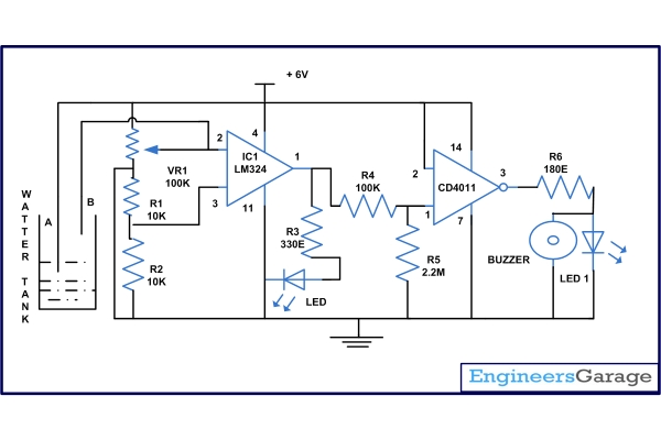 Water Tank Overflow Alarm Schematic