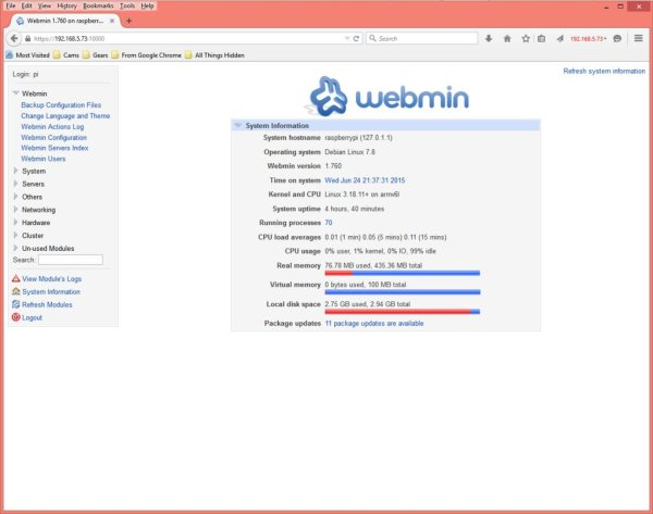 Adding Webmin to manage a Raspberry Pi