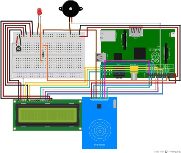 Attendance system using Raspberry Pi and NFC Tag reader schematic