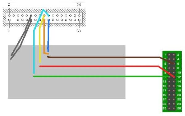 Floppy Drive music w Raspberry Pi schematic
