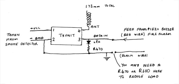 Raspberry PI connected Wireless Smoke Alarm schematic