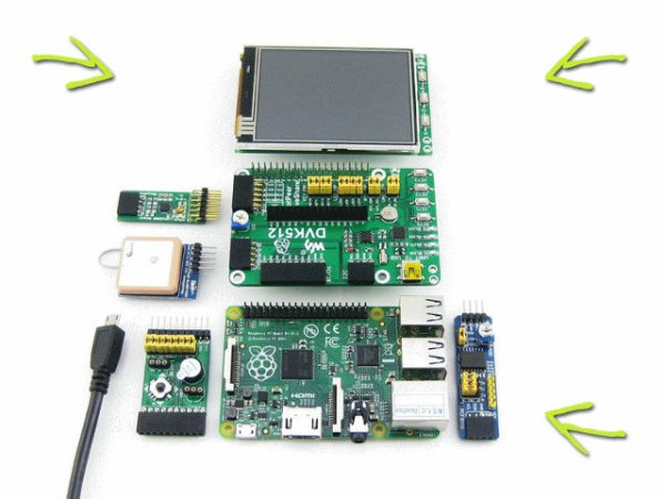 Waveshare DVK512 Kits For Raspberry Pi Model B+ Include RTC, Sensors, LCD Display, and More schematic