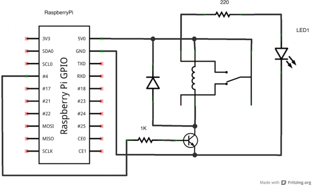 Control a Relay From Anywhere Using the Raspberry Pi  schematic