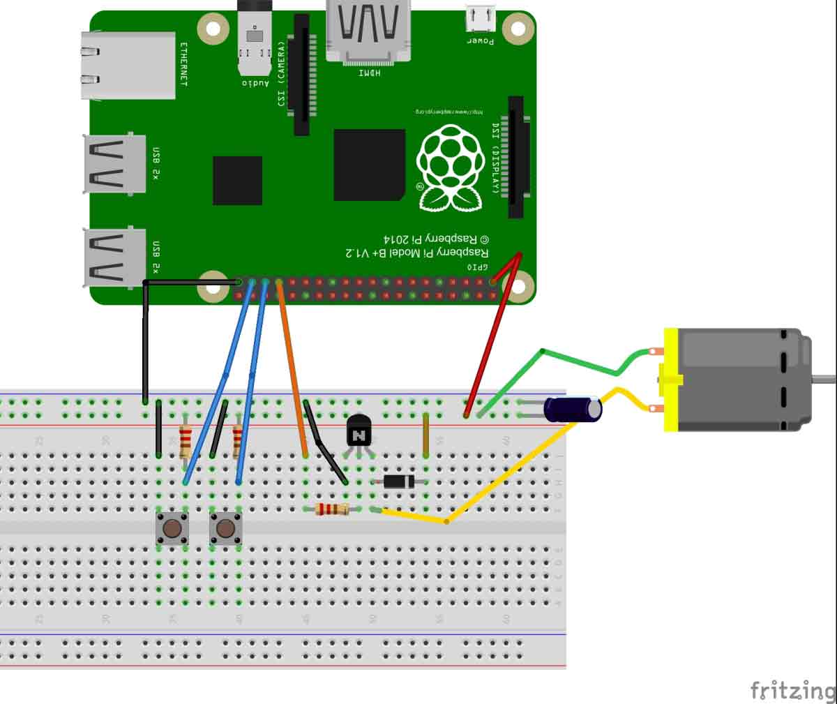 Dc motor control with raspberry pi for Motor control wiring training