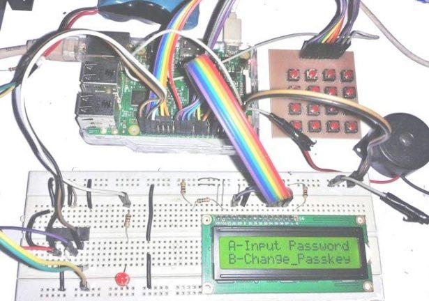 raspberry pi digital code lock on breadboard